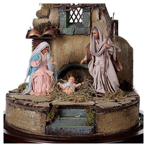 Trio natività presepe napoletano con cupola di vetro 30x30 cm stile arabo 2
