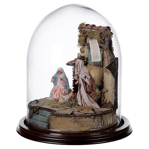 Trio natività presepe napoletano con cupola di vetro 30x30 cm stile arabo 3
