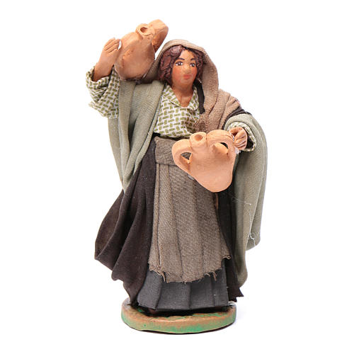 Neapolitan nativity scene statue woman with amphora on her shoulders 10 cm 1