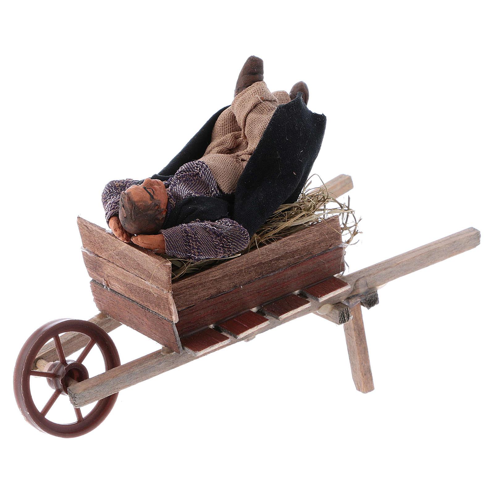 Schlafender Mann im Schubkarre 10cm neapolitanische Krippe 4