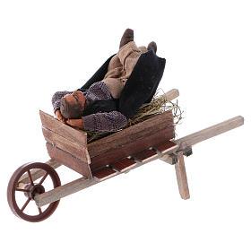 Schlafender Mann im Schubkarre 10cm neapolitanische Krippe s2