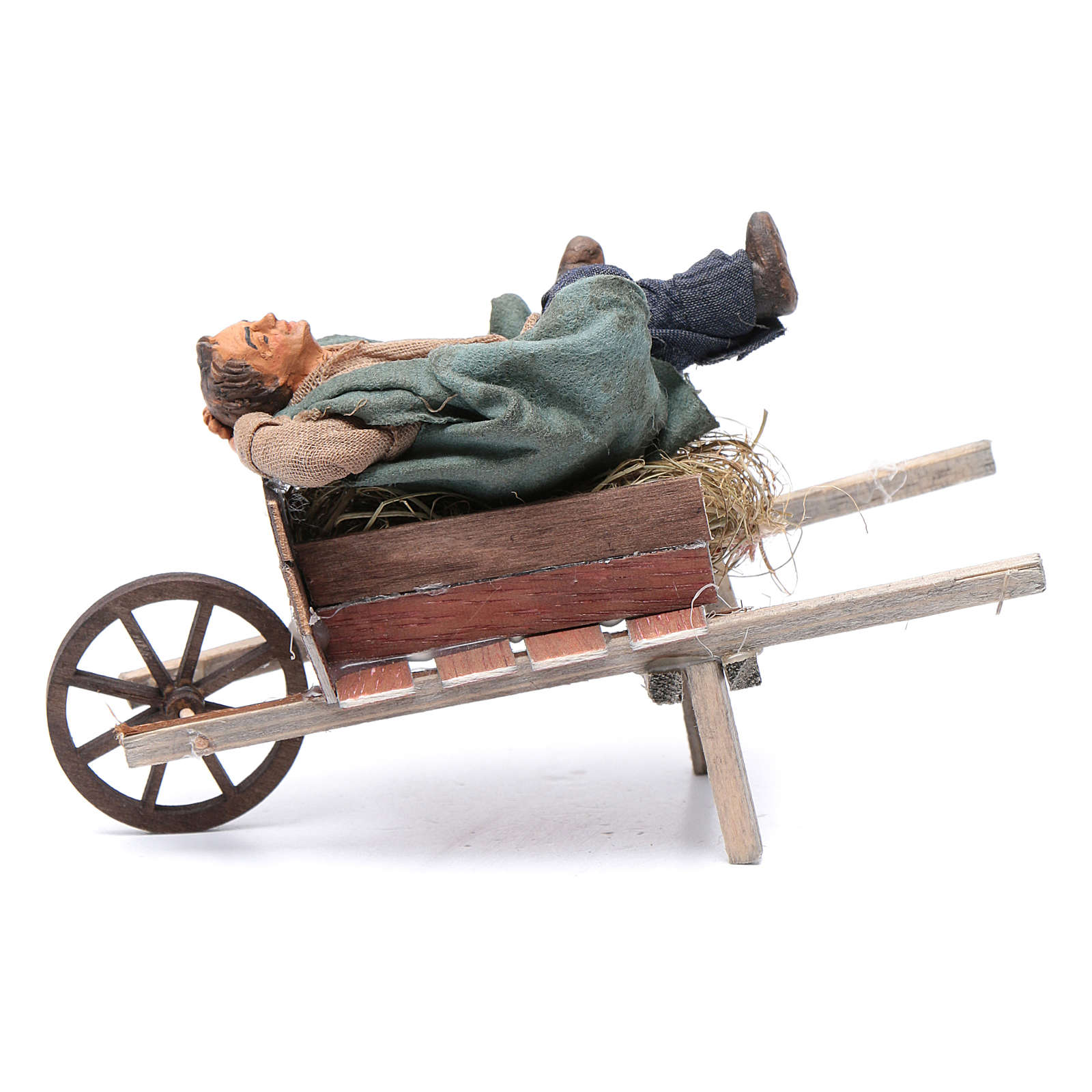 Dormiente in carriola 10 cm presepe di Napoli 4
