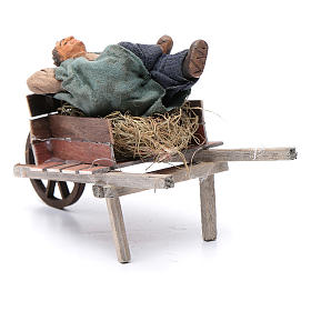 Dormiente in carriola 10 cm presepe di Napoli s3