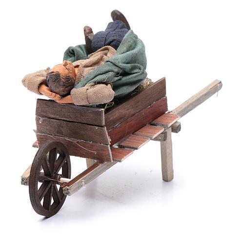 Dormiente in carriola 10 cm presepe di Napoli 2
