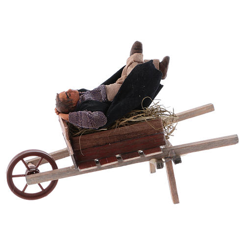 Dormiente in carriola 10 cm presepe di Napoli 1