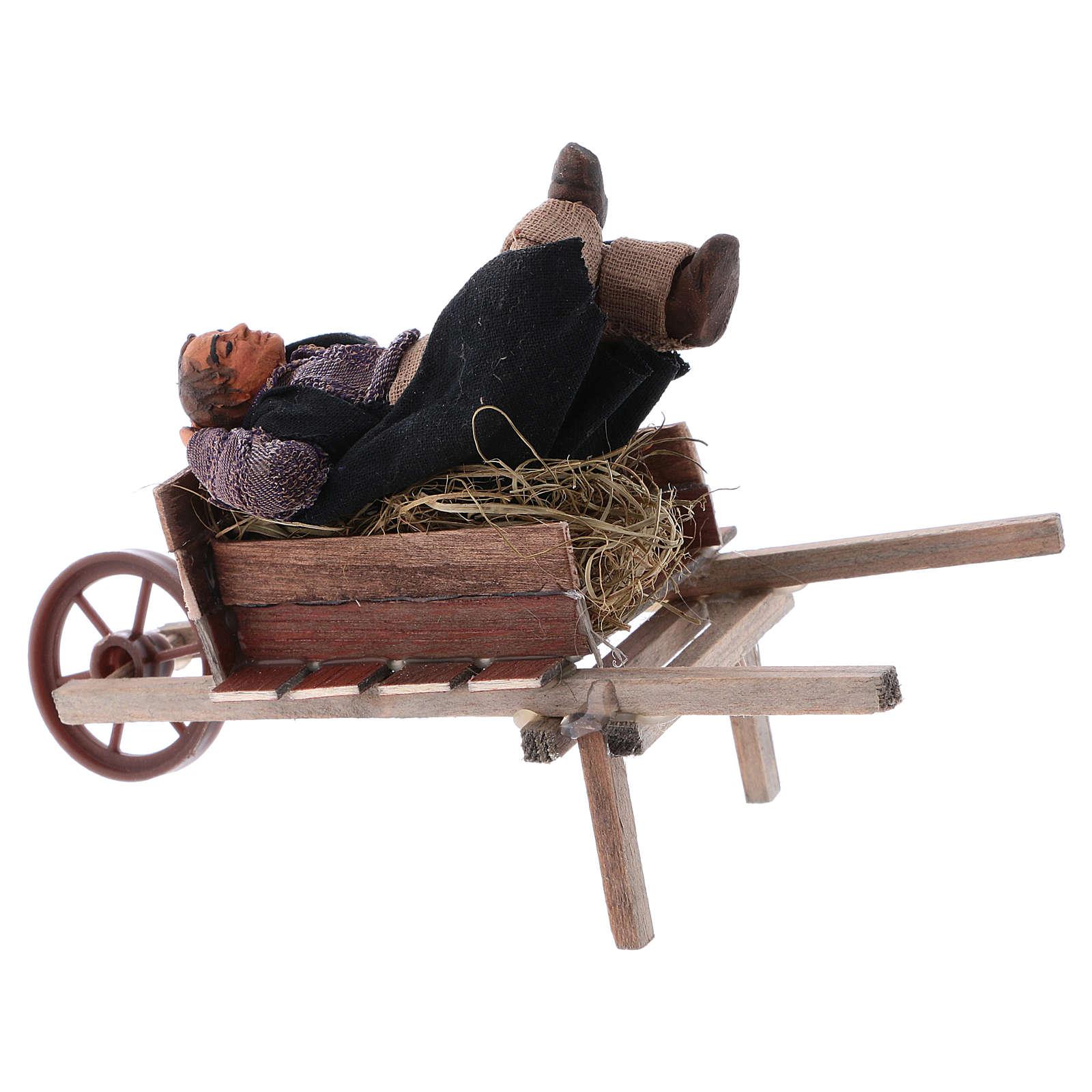 Homem adormecido no carrinho de mão para presépio napolitano com peças 10 cm  altura média 4