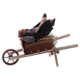 Homem adormecido no carrinho de mão para presépio napolitano com peças 10 cm  altura média