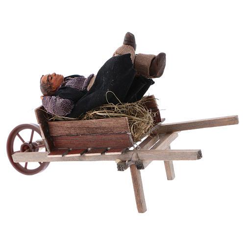 Homem adormecido no carrinho de mão para presépio napolitano com peças 10 cm  altura média 3