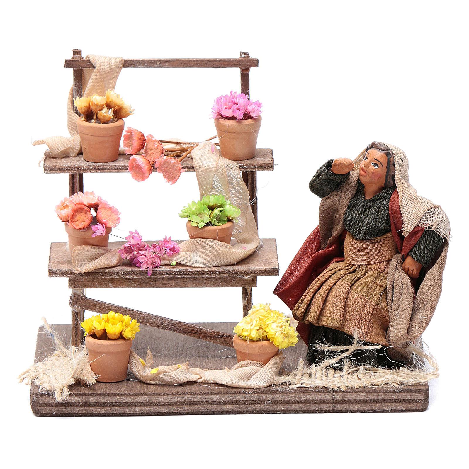 Neapolitan nativity scene statue florist with stand 10 cm 4