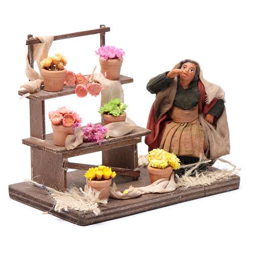 Neapolitan nativity scene statue florist with stand 10 cm 3