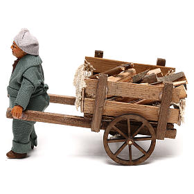 Neapolitan Nativity Scene: Neapolitan nativity scene statue man with wooden cart 10 cm