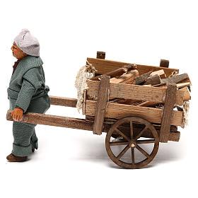 Belén napolitano: Hombre con carreta de madera 10 cm belén napolitano