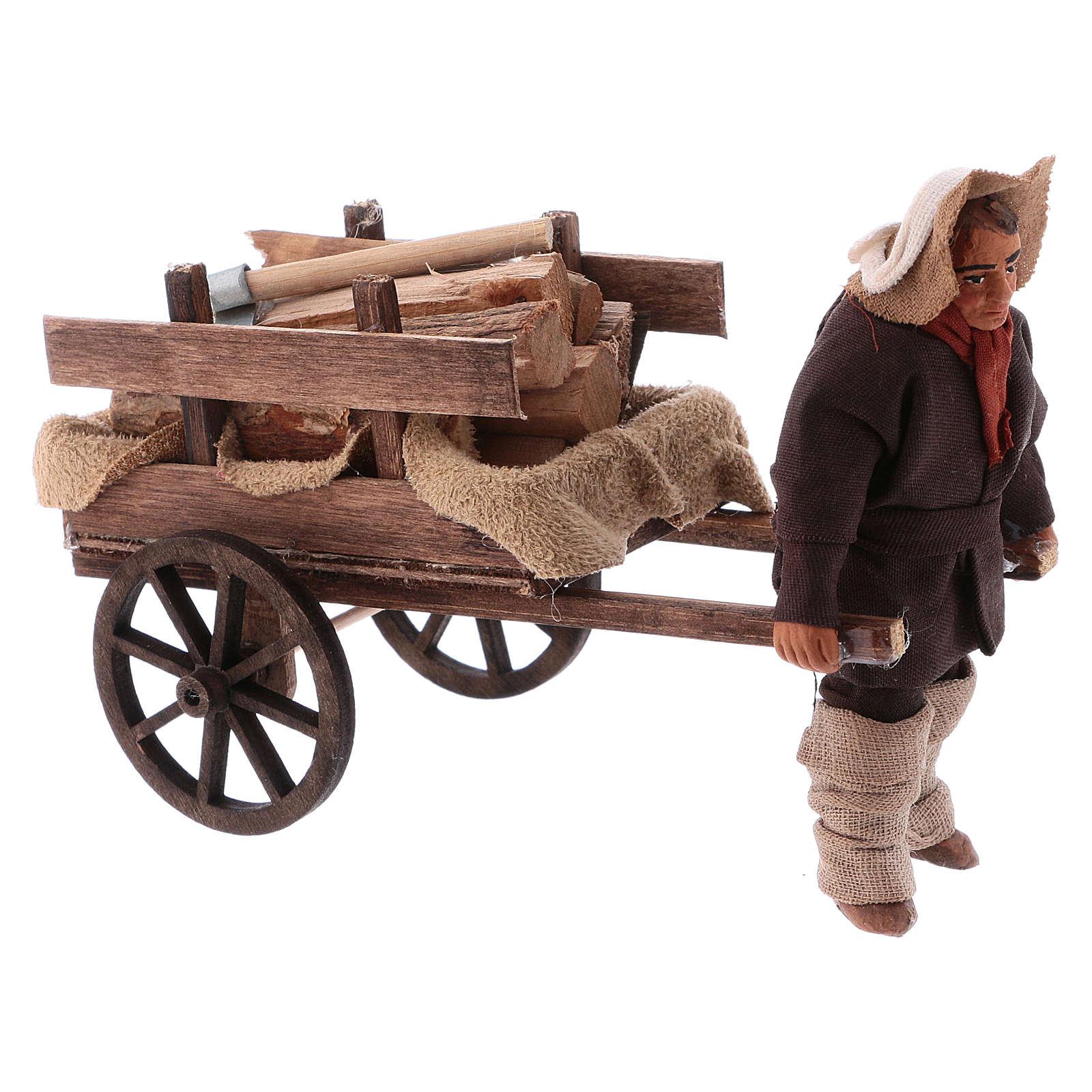 Uomo con carretto di legna 10 cm presepe napoletano 4