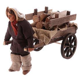 Uomo con carretto di legna 10 cm presepe napoletano s2