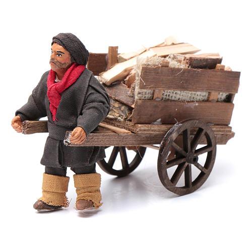 Uomo con carretto di legna 10 cm presepe napoletano 1