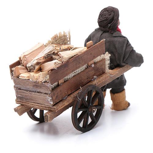 Uomo con carretto di legna 10 cm presepe napoletano 3