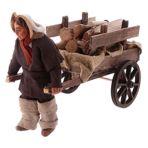 Uomo con carretto di legna 10 cm presepe napoletano 2