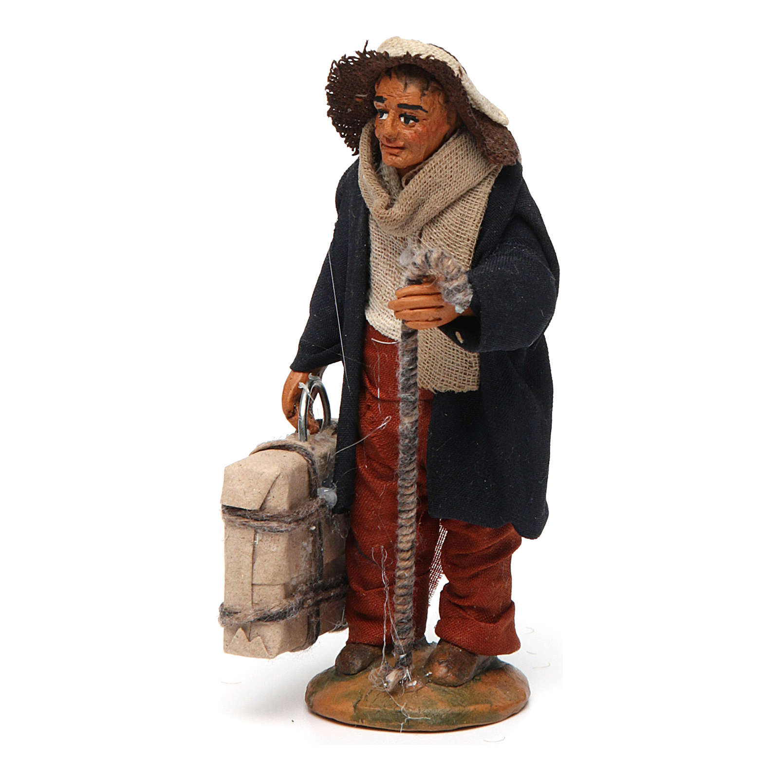 Neapolitan nativity scene statue man with suitcase 10 cm 4