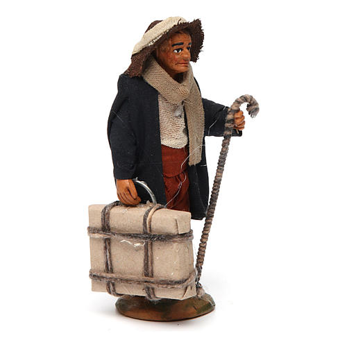 Neapolitan nativity scene statue man with suitcase 10 cm 3