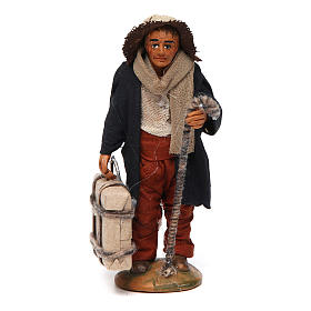 Neapolitan nativity scene statue man with suitcase 10 cm s1