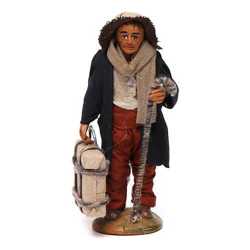 Neapolitan nativity scene statue man with suitcase 10 cm 1