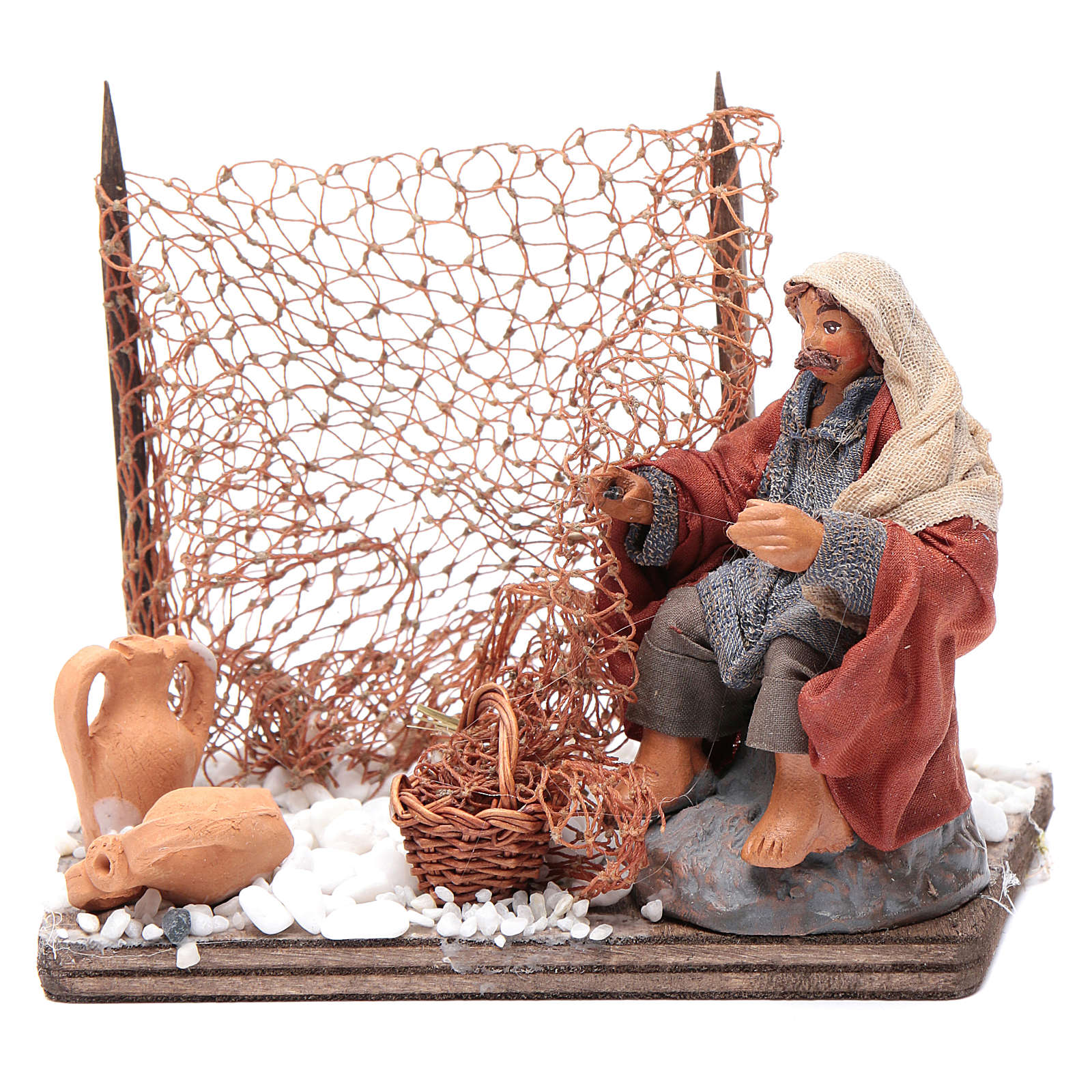 Neapolitan nativity scene fisherman with net 10 cm 4