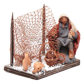Neapolitan nativity scene fisherman with net 10 cm s3