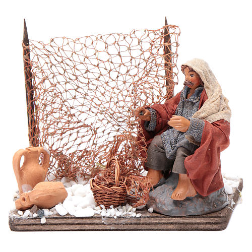 Neapolitan nativity scene fisherman with net 10 cm 1