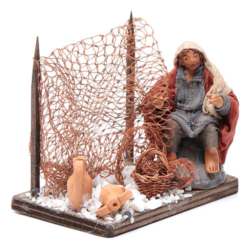 Neapolitan nativity scene fisherman with net 10 cm 3