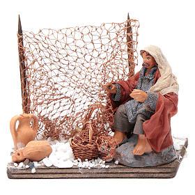 Neapolitan nativity scene fisherman with net 10 cm s1