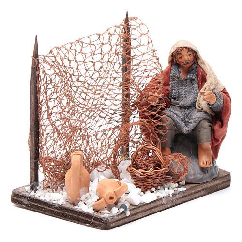 Neapolitan nativity scene fisherman with net 10 cm 3