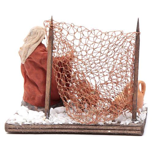 Neapolitan nativity scene fisherman with net 10 cm 4