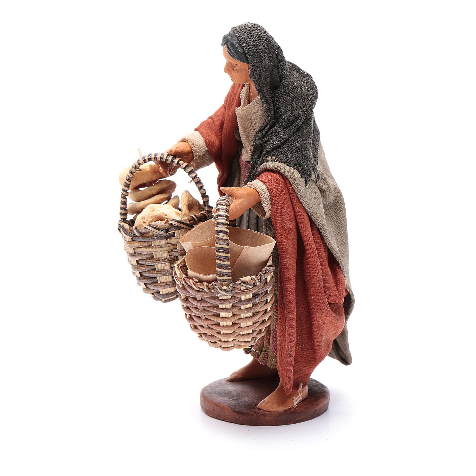Donna con cesto taralli cuoppi 12 cm presepe napoletano 4