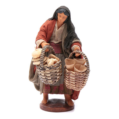 Donna con cesto taralli cuoppi 12 cm presepe napoletano 1