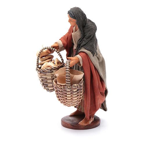 Donna con cesto taralli cuoppi 12 cm presepe napoletano 2