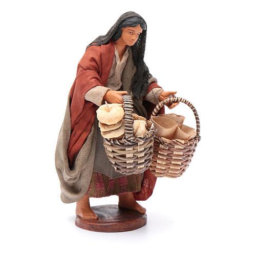 Donna con cesto taralli cuoppi 12 cm presepe napoletano 3