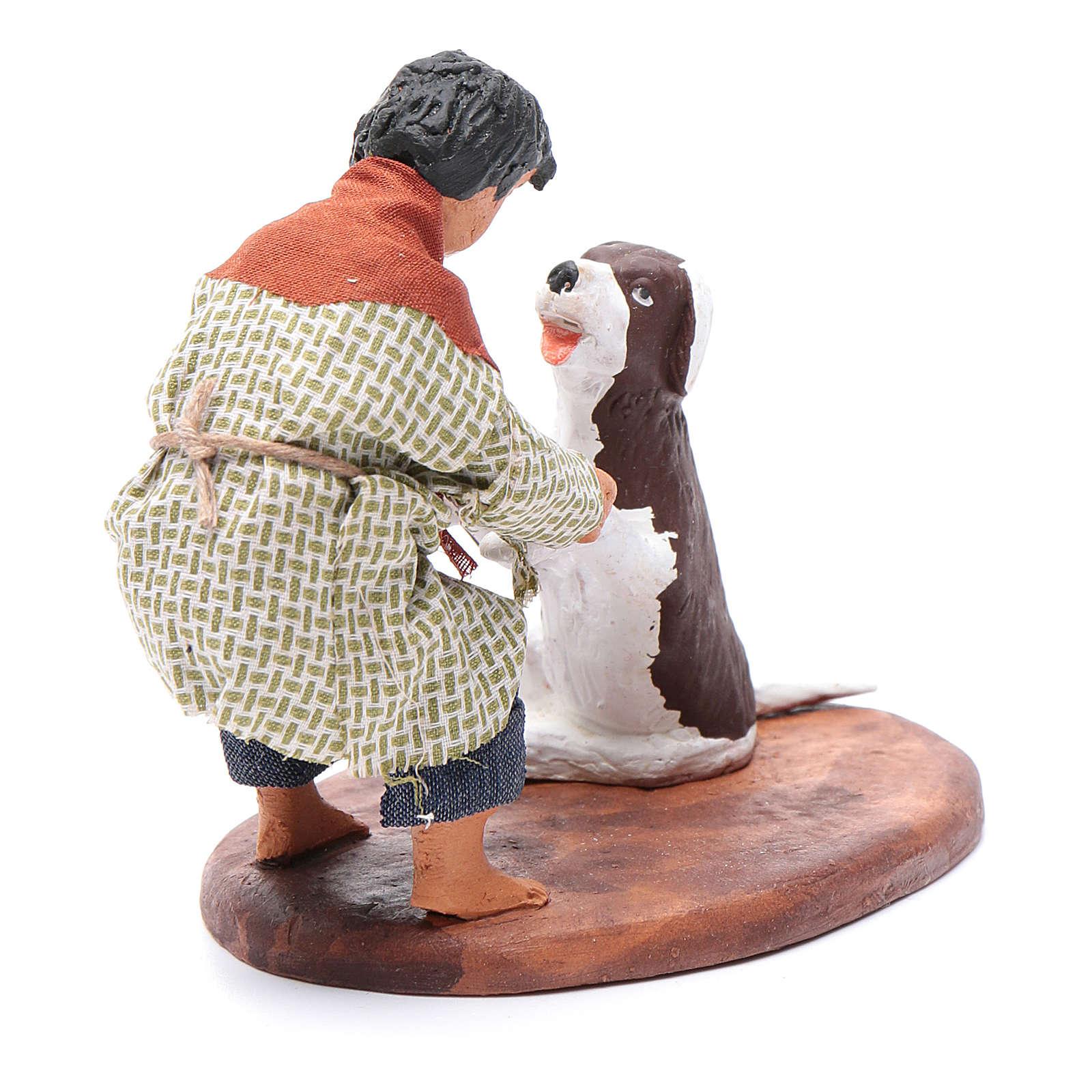 Fanciullo con cane 12 cm presepe napoletano 4