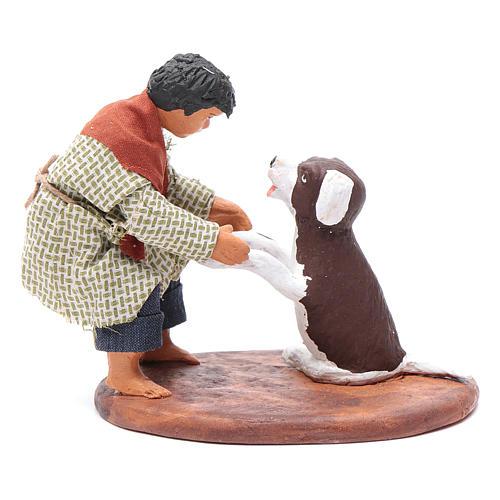 Fanciullo con cane 12 cm presepe napoletano 1
