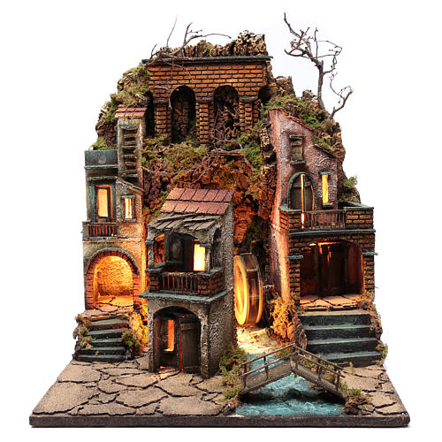 Nativity scene village illuminated with water mill and movement 55X50X50 cm Neapolitan nativity scene 1