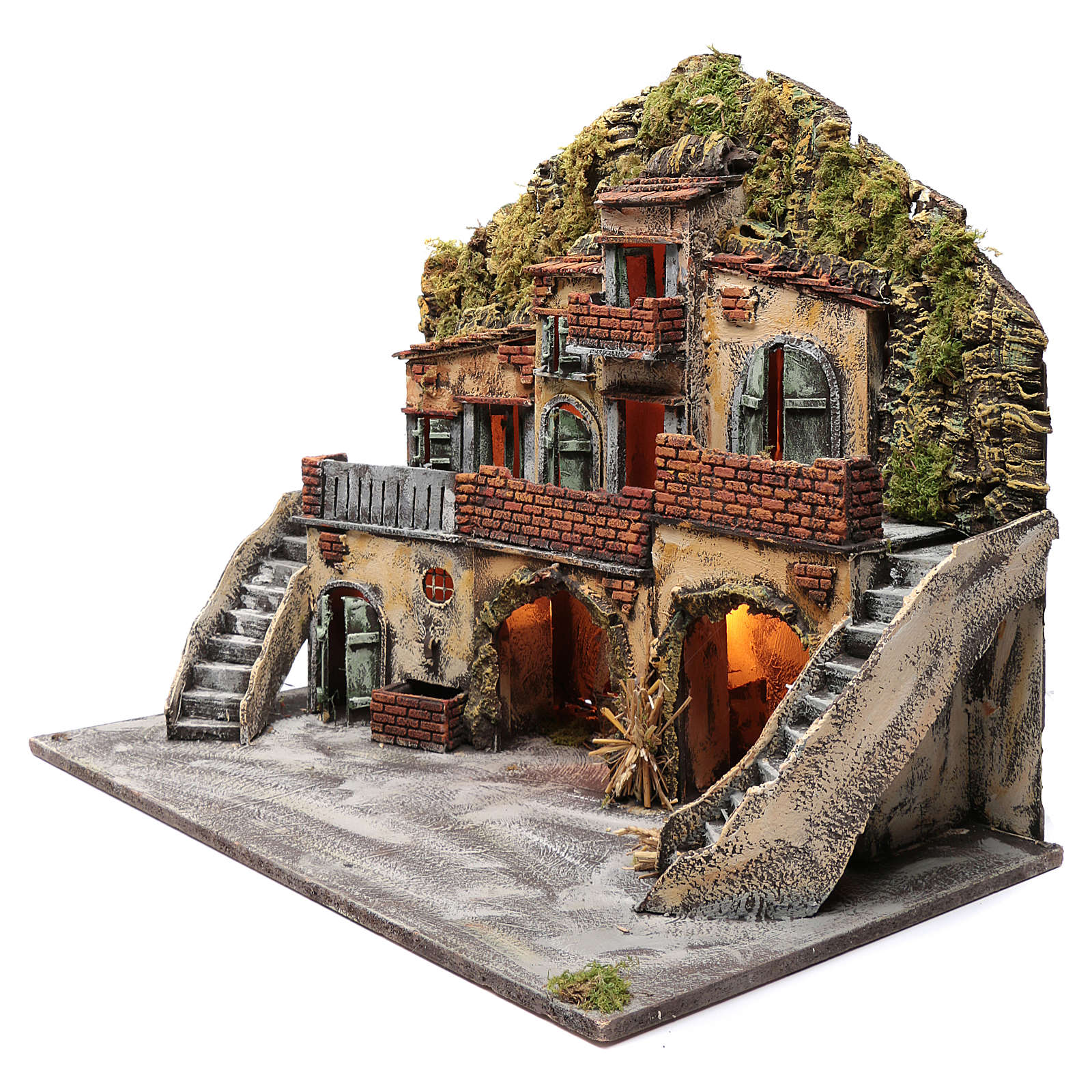 Borgo con fontana e forno illuminato 55X65X40 cm presepe napoletano 4