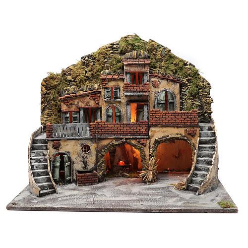 Borgo con fontana e forno illuminato 55X65X40 cm presepe napoletano 1