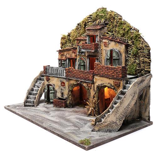 Borgo con fontana e forno illuminato 55X65X40 cm presepe napoletano 2