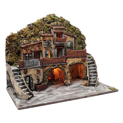 Borgo con fontana e forno illuminato 55X65X40 cm presepe napoletano 3