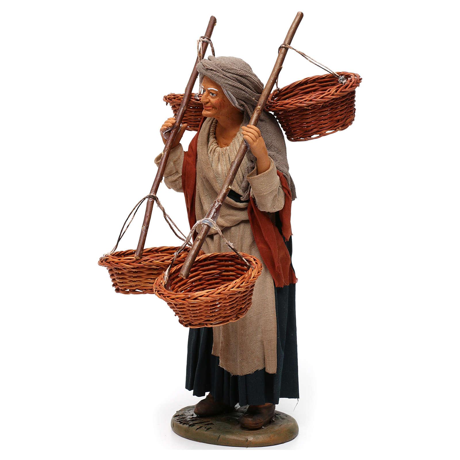 Donna con 4 cesti di paglia 30 cm presepe di Napoli 4
