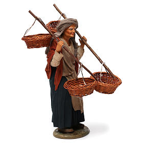 Donna con 4 cesti di paglia 30 cm presepe di Napoli s4
