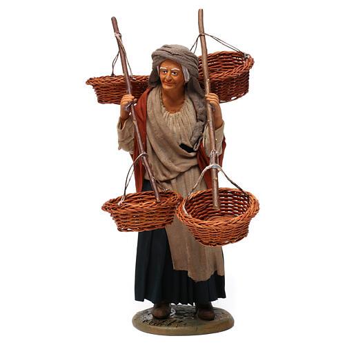Donna con 4 cesti di paglia 30 cm presepe di Napoli 1