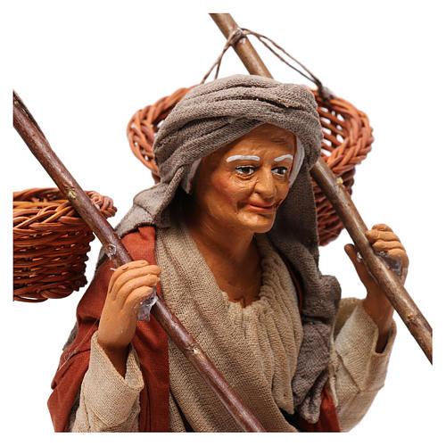 Donna con 4 cesti di paglia 30 cm presepe di Napoli 2
