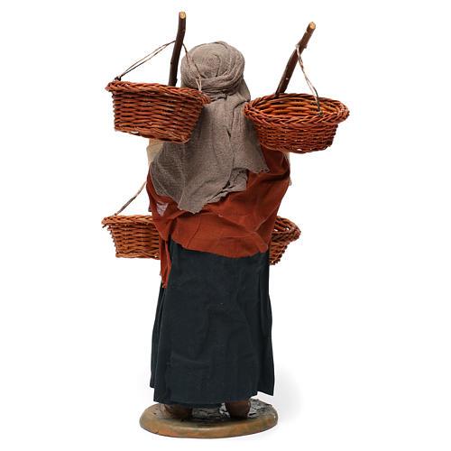 Donna con 4 cesti di paglia 30 cm presepe di Napoli 5