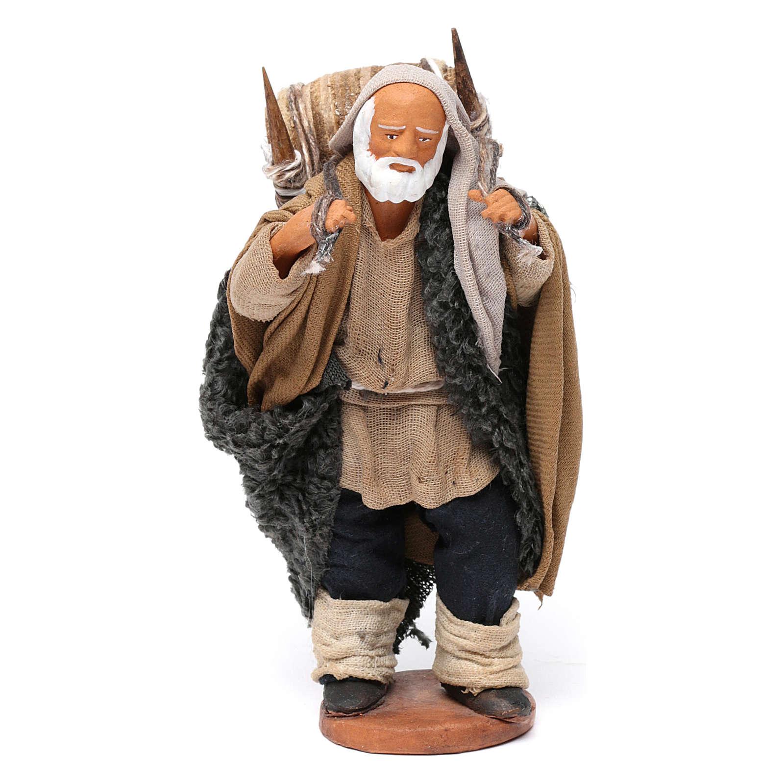 Hombre que lleva barriles madera belén de Nápoles 12 cm de altura media 4