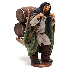 Hombre que lleva barriles madera belén de Nápoles 12 cm de altura media s4